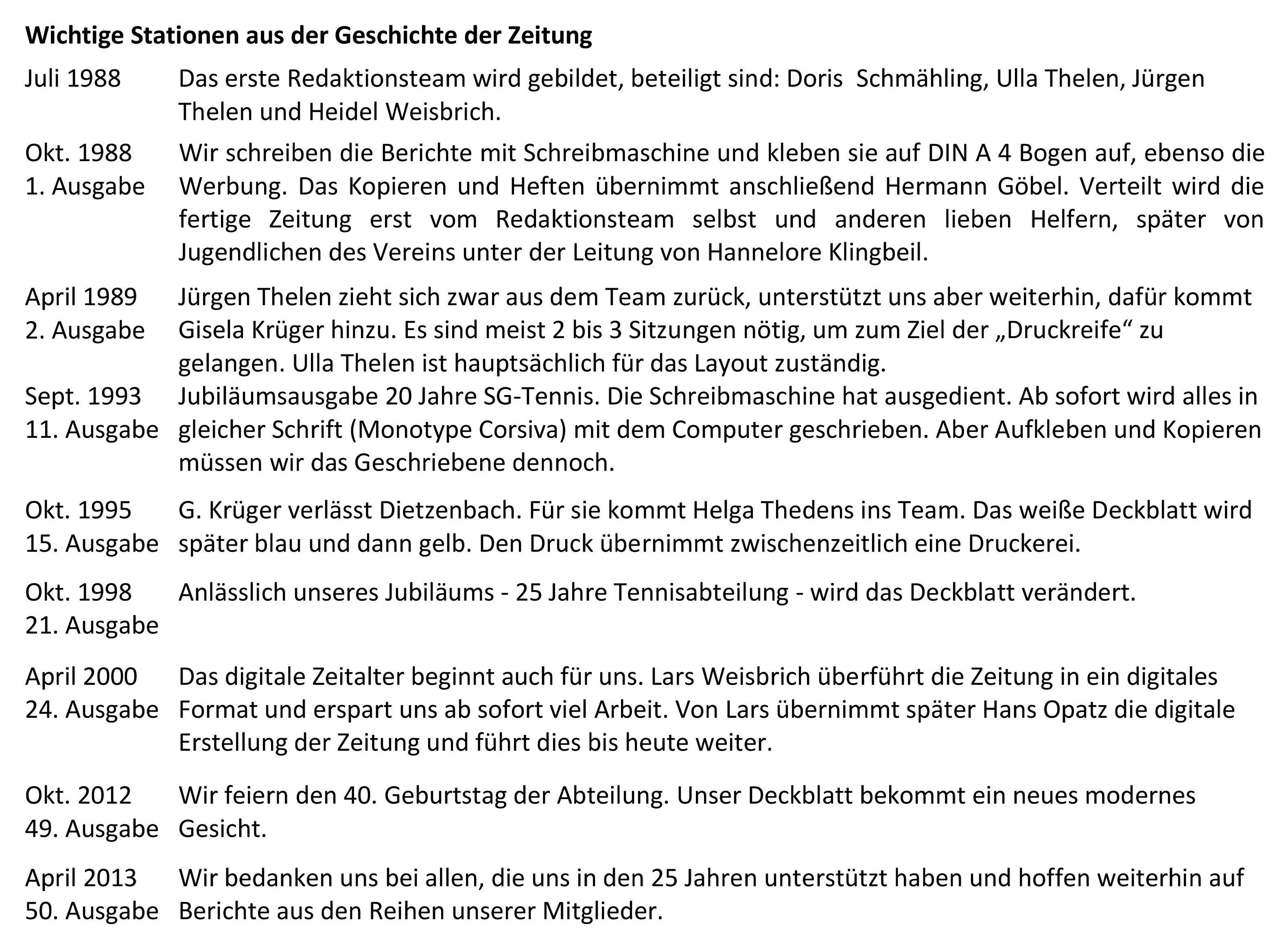 Tabelle Chronik TZeitung